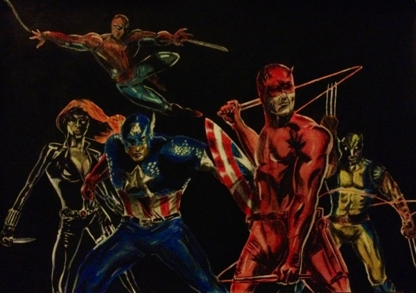 Black Widow, Hugh Jackman, Spider-Man, Daredevil, Captain America by ritchi1378
